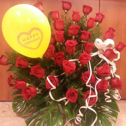 centro 36 rosas de máxima calidad con complemento