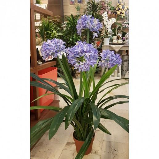 planta artificial allium azul y blanco