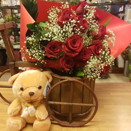 rosas rojas y peluche para san valentin en Granada