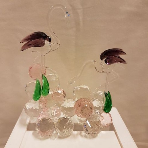 Pareja de flamencos de cristal de Murano