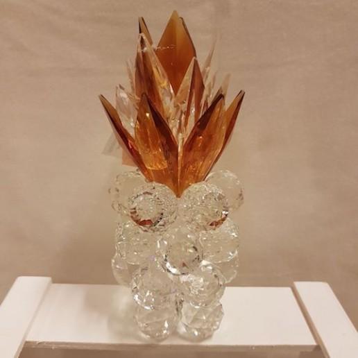 Piña pequeña en color ambar de cristal de Murano