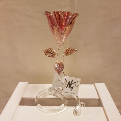 Rosa ambar de cristal de Murano
