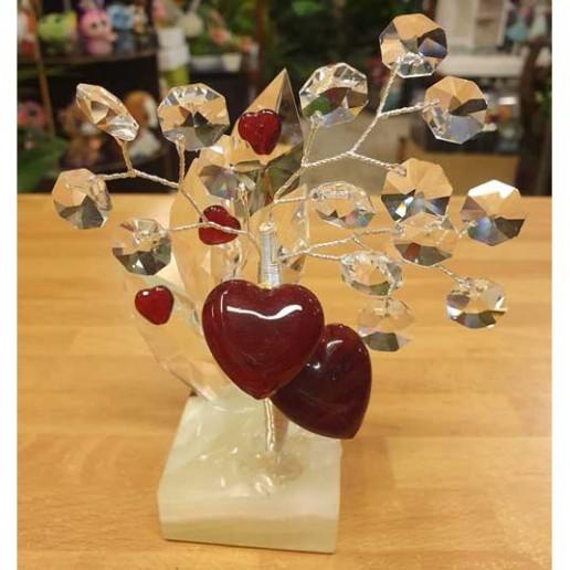 bonsai de cristal con corazones