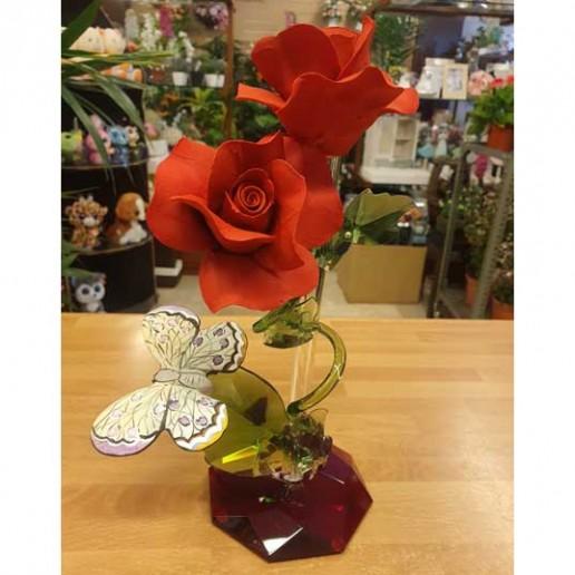 composición cristal porcelana 2 rosas