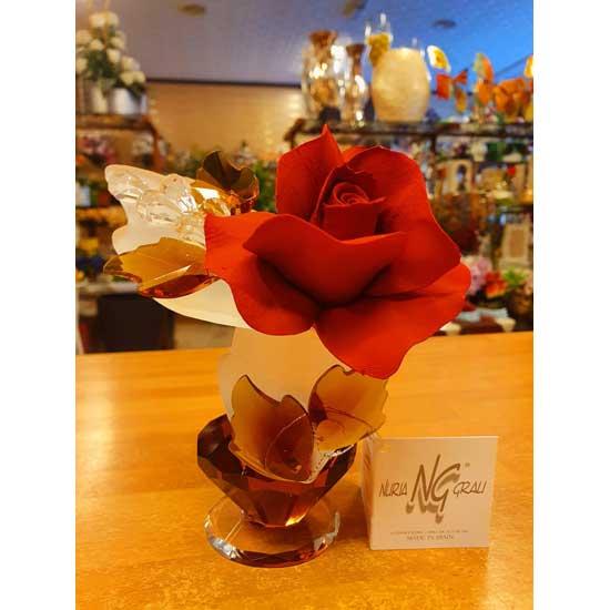 rosa roja porcelana y cristal de murano